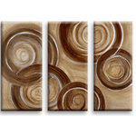 Brown Circles Triptych Canvas Art Picture by Martin Shelley - print