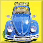 VW Volkswagan Beetle Car, Blue &amp;amp; Yellow by Mellie Thorp - print