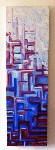 Skyscraper Red Blue Original Acrylic Painting on Canvas by Luke Hollingworth - print