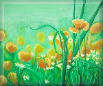 Meadow Poppies Original Painting on Canvas by Luke Hollingworth - print