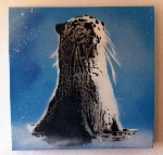 Otter Stencil Handsprayed Canvas Blue by Art By People - print