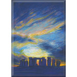 Stonehenge Sunset, Blue Canvas Art Print Picture