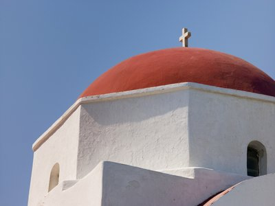 Fine Art Print of Greece, Mykonos Island. low angle view of church by Assaf Frank