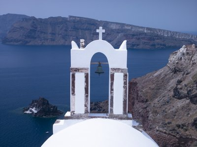 Fine Art Print of Greece, Cyclades. Santorini Island, Church with mountain in background by Assaf Frank