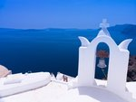 Greece, Cyclades. Santorini Island, Church bell with mountain in background Poster Art Print by Assaf Frank