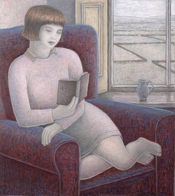 Girl Reading in Armchair, 2009 Poster Art Print by Ruth Addinall