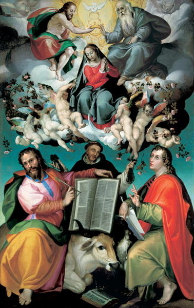 Fine Art Print of The Coronation of the Virgin with Saints Luke, Dominic, and John the Evangelist, c.1580 by Bartolomeo Passarotti