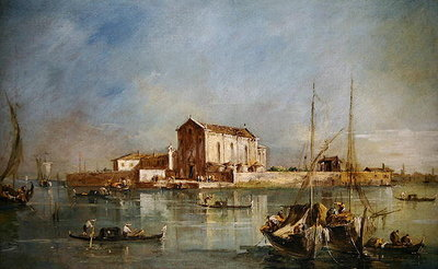 The Island of San Cristoforo della Pace, Murano Poster Art Print by Francesco Guardi