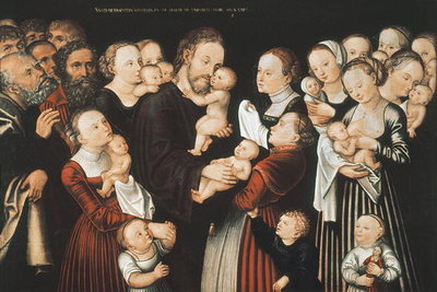 Jesus and the Children, early c16th Poster Art Print by Lucas, the Elder Cranach