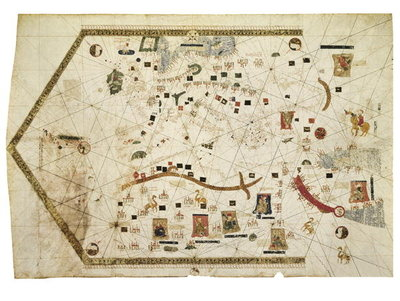 Fine Art Print of Portolan Chart of Gabriel de Vallseca, 1439 by Spanish School