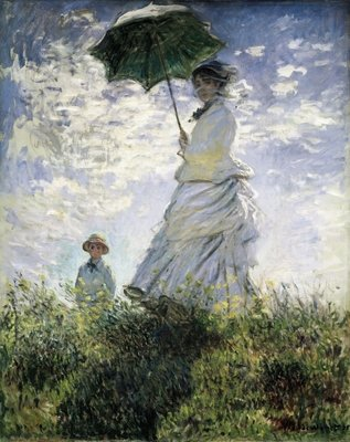 Fine Art Print of Woman with a Parasol - Madame Monet and Her Son, 1875 by Claude Monet