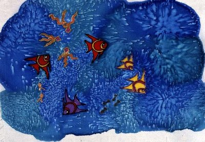 Fish, 1999 (painted silk) by Alexandra Cowan - print