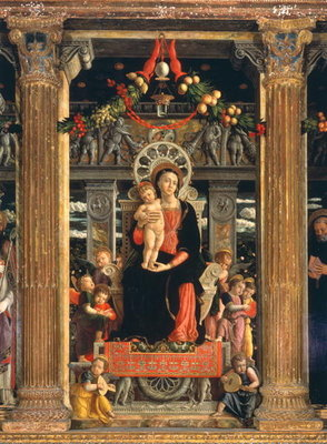 Virgin and Child with Angels, central panel from the Altarpiece of St. Zeno of Verona, 1456-60 Poster Art Print by Andrea Mantegna
