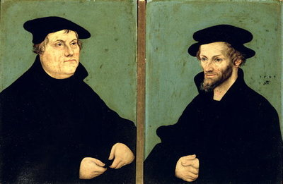 Fine Art Print of Double Portrait of Martin Luther by Lucas, the Elder Cranach