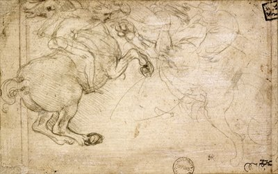 A Horseman in Combat with a Griffin Poster Art Print by Leonardo da Vinci