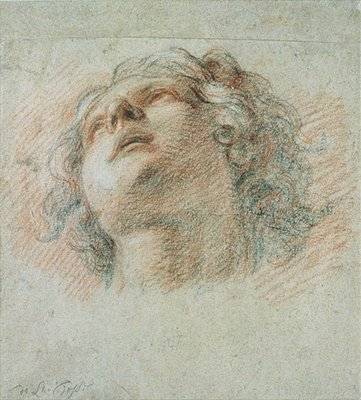 Fine Art Print of Head of a Youth, seen from below by Charles de la Fosse