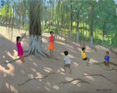 Tree Swing, Elephant Island, Bombay, 2000 (oil on canvas) by Andrew Macara - print