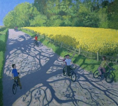 Cyclists and Yellow Field, Kedleston, Derby (oil on canvas) by Andrew Macara - print