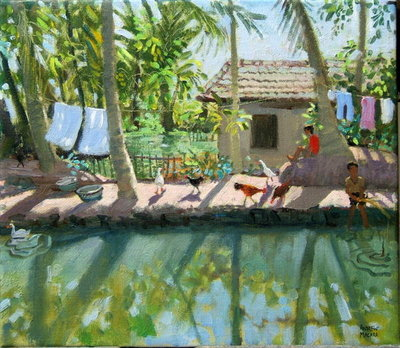 Backwaters, India (oil on canvas) by Andrew Macara - print