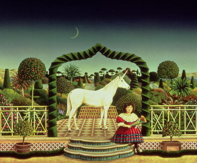 Fine Art Print of Girl with a Unicorn, 1980 by Anthony Southcombe