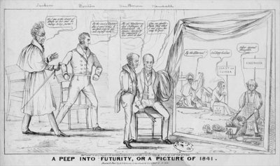A peep into futurity, or, A picture of 1841, published by M R Robinson, New York, 1838 Poster Art Print by American School