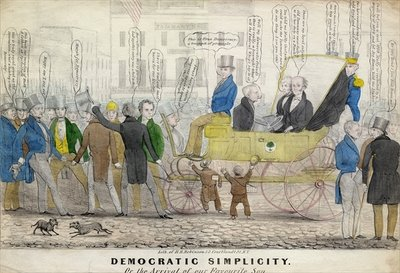 Fine Art Print of Democratic simplicity, or, The arrival of our favorite son, published by H R Robinson, New York, c.1839 by American School
