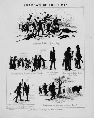 Shadows of the times, plate 3, published by P. Kramer & C. Muringer, Philadelphia, c.1862 Poster Art Print by American School