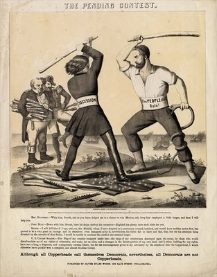 The pending contest, published by Oliver Evans Woods : Herline & Hensel Lith., Philadelphia, 1863 Poster Art Print by American School