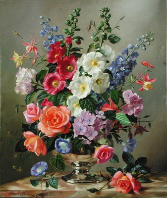 A September Floral Arrangement Poster Art Print by Albert Williams