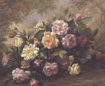 AB 284/2 A Fantasy of Old World Roses Poster Art Print by Albert Williams
