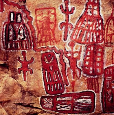 Prehistoric rock painting, from the Songhai/Dogon region of Mali (cave painting) by Anonymous - print