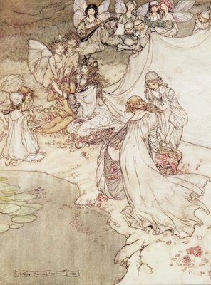 Fine Art Print of Illustration for a Fairy Tale, Fairy Queen Covering a Child with Blossom by Arthur Rackham