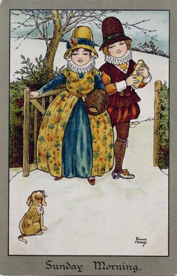 Sunday Morning, Victorian card (colour lithograph) by Florence Hardy - print