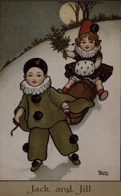 Fine Art Print of Jack and Jill, Victorian card by Florence Hardy