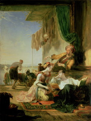 Lord Byron reposing in the house of a fisherman having swum the Hellespont, 1831 (oil on canvas) by Sir William Allan - print