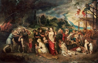Fine Art Print of Aeneas prepares to lead the Trojans into exile, c.1602 by Peter Paul Rubens