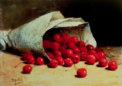 A spilled bag of cherries by Antoine Vollon - print