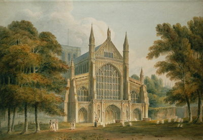 Fine Art Print of Winchester Cathedral: The Facade from the North-West, 1801 by John Buckler