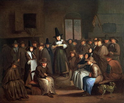 Fine Art Print of A Quakers Meeting by Egbert van the Elder Heemskerk
