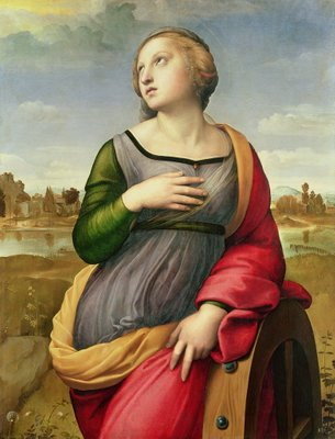 St. Catherine of Alexandria, 1507-8 (oil on panel) by Raphael - print