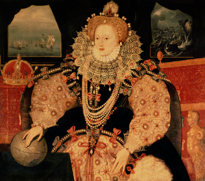 Elizabeth I, Armada portrait, c.1588 (oil on panel) by English School - print