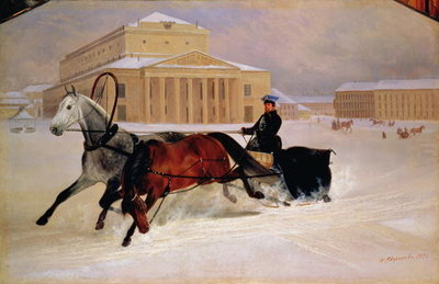 Fine Art Print of Pole Pair with a Trace Horse at the Bolshoi Theatre in Moscow, 1852 by Nikolai Egorevich Sverchkov