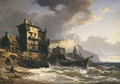 Hauling the Boats ashore on the Coast of Brittany, 19th century by Charles Euphrasie Kuwasseg - print