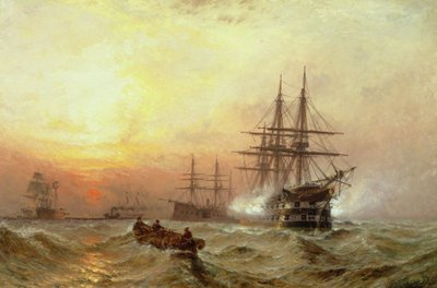 Man-o'-War firing a salute at sunset by Claude T. Stanfield Moore - print