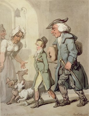 The Bear and Bear Leader - passing the Hotel d'Angleterre, 1776 Poster Art Print by Thomas Rowlandson