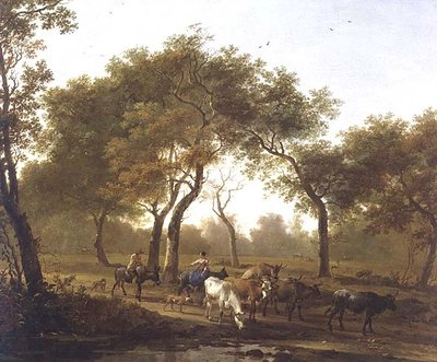Two peasants with a herd of cattle on a wooded path leading to a lake, 17th century by Jan Both - print