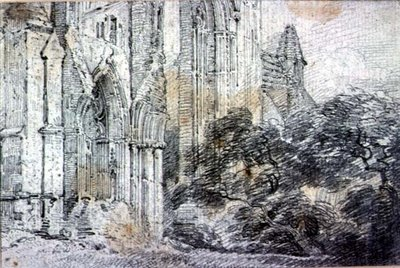 Ruins of a church (drawing) by John Constable - print