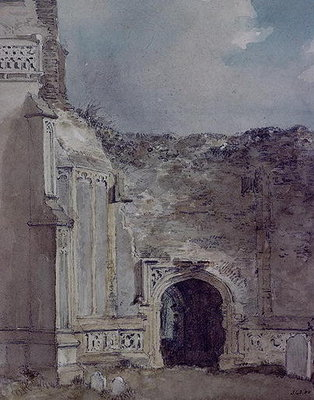 East Bergholt Church: North Archway of the Ruined Tower (w/c on paper) by John Constable - print