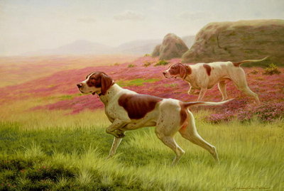 Pointers in a Landscape, 19th century Poster Art Print by Harrington Bird