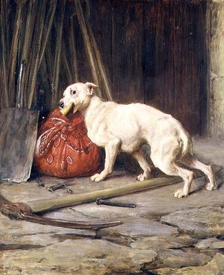 Petty Larceny, 1888 (oil on canvas) by Briton Riviere - print